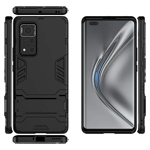 Gift_Source Honor V40 5G Funda, [Negro] Suave Silicona TPU Parachoques y PC Dura Plastico Cover 2 en 1 Carcasa Protectora de Doble Capa con Función Soporte para Huawei Honor V40 5G (6.72')
