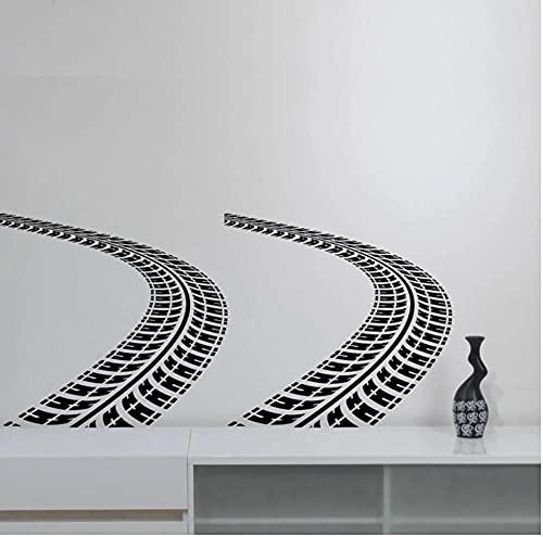 Huellas de neumáticos Etiqueta de la pared Auto Car Trace Vinilo Calcomanía Art Road Racing Decoraciones para el hogar Artículos para el hogar Habitación de niños Dormitorio89X42CM