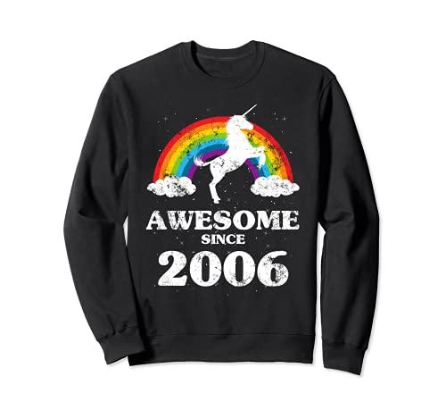 Unicornio arcoíris Año 2006 cumpleaños retro vintage Sudadera