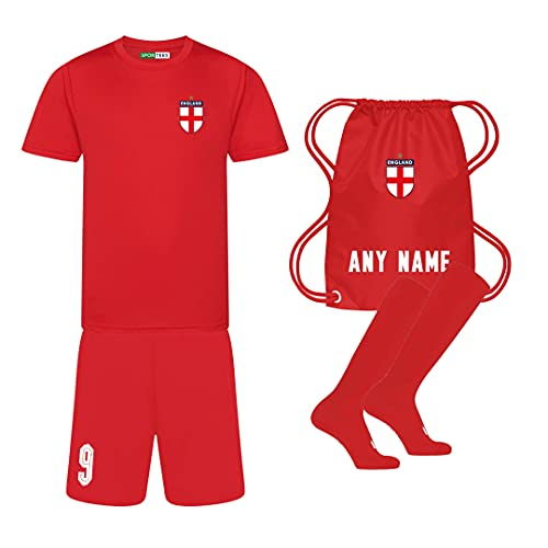 Sportees Retro Kids Personalised All Red England Style Away Football Kit With FREE Socks Bag Youth Football England Boys Or Girls Football Jersey Child Football Kit 56 Years