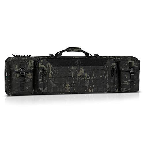 Savior Equipment 55' Urban Warfare Multicam Black Tactical Double Carbine Long Rifle Bag Firearm Gun Case w/Removable Backpack Strap - 1000D Cordura Nylon Fabric, UTX Buckles, YKK Zippers