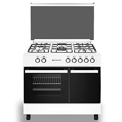 EAS ELECTRIC SMART TECHNOLOGY | EFG9B60X | Cocina de gas Blanco | Color Blanco | 90 cm | Gas butano y gas natural | Autoencendido | Horno 64 l | Tapa de cristal y aluminio | Válvula FFD | 5 fuegos