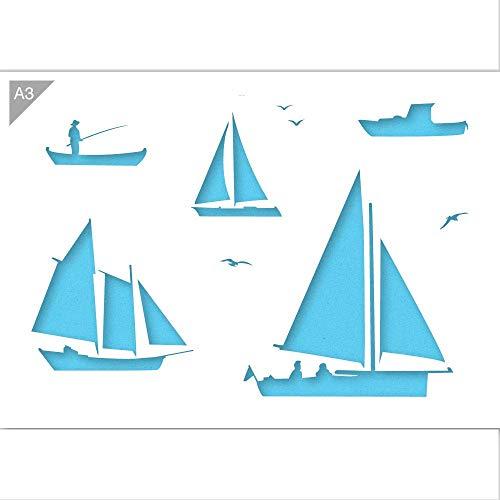 QBIX Boot Schablone - Segelboot Schablone - Fischerboot Schablone - Boote Schablone - A3 Größe - wiederverwendbare kinderfreundliche DIY Schablone zum Malen, Backen, Basteln, Wand, Möbel