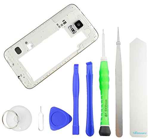 TOKA-VERSAND® - Mittelrahmen für Samsung Galaxy S5 [G900F] Silber Mittel Rahmen mit Kamera Glas [echt Glas], Laut Leise Tasten Button, Lautsprecher, Audio Jack und 8X teiliges Werkzeug [magnetisch]