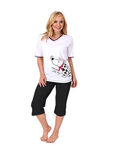 Normann Damen Capri Pyjama Kurzarm Hundemotiv, 3/4-Hose Tupfen - auch in Übergrössen 204 90 004, Farbe:Weiss;Größe:36/38