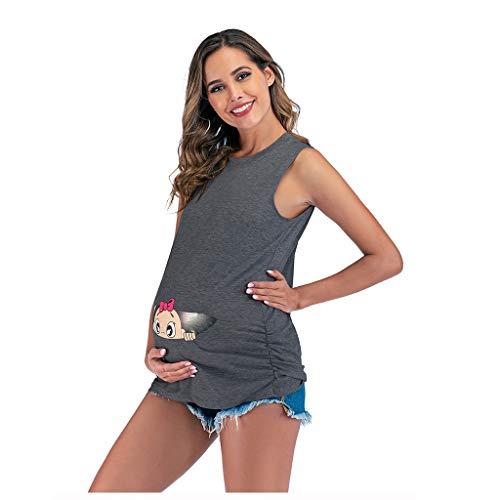 Smonke Frauen Mutterschaftsblusen Ärmellose Nette Druck Weste Tank Bluse Schwangerschaft Tops Kleidung S-3XL