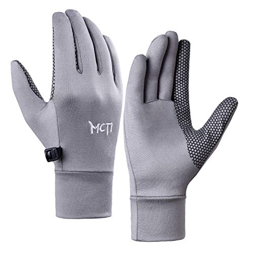 MCTi Glove Liner Touch Screen Lightweight for Winter Running Texting Grey Small