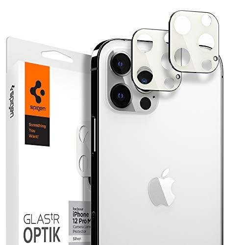 Spigen Glas TR Optik Cámara Lente Protector para iPhone 12 Pro MAX Plata - 2 Unidades