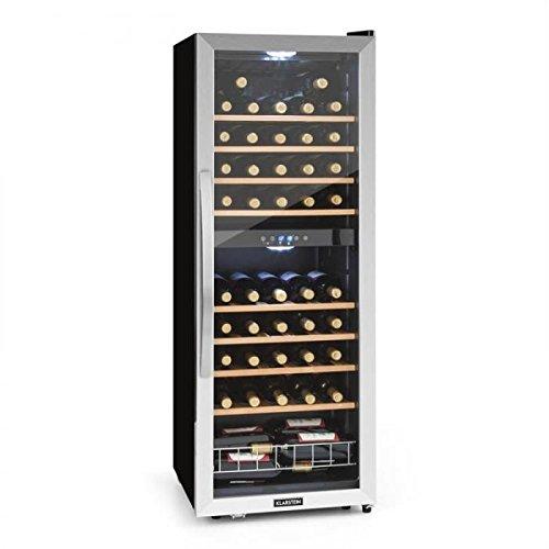 Klarstein Vinamour 54D - Getränkekühlschrank, Weinkühlschrank, Gastro-Kühlschrank, 2 Zonen, 148 Liter, 54 Flaschen, 8 Holzeinschübe, LED-Beleuchtung, Touch-Bediensektion, schwarz-silber