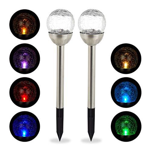 Relaxdays Gartenleuchte Glaskugel im 2er Set, LED Solarleuchten in Bruchglas Optik, Farbwechsel, inkl. Erdspieß, Silber