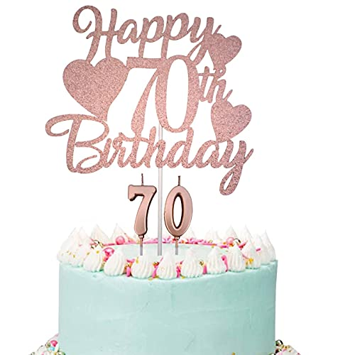 Happy 70th Birthday Cake Topper, Rose Gold Glittery 70th Birthday Cake Topper for Women, 70th Birthday Candles, 70 Fabulous Cake Topper with Number 70 Candles for Women Lady 70th Birthday Decorations