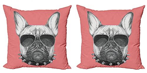 ABAKUHAUS Buldog Set de 2 Fundas para Cojín, Gafas de Sol Bosquejo del Perro, con Estampado en Ambos Lados con Cremallera, 40 cm x 40 cm, Negro Gris y Rosa