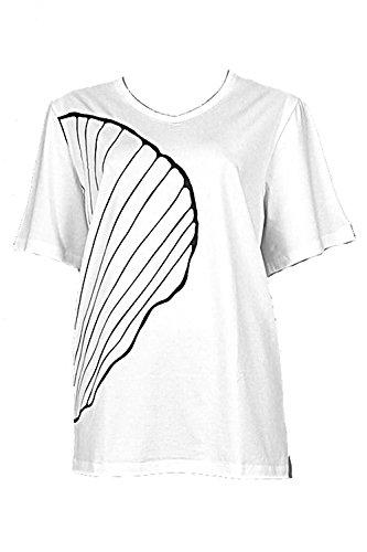 Nanso Damen T-Shirt Oberteil Shirt Simpukka kurzer Arm V-Neck Gr. L XL XXL XXXL Plusgrößen (54-56 / 3XL, Weiss-Schwarz)