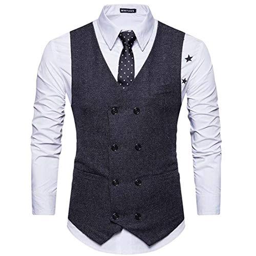 Yuyudou Heren Klassiek Pak Vest, Herringbone Tweed Taillejassen, Slim Fit Vintage Casual Zakelijke Pak Jas gilet
