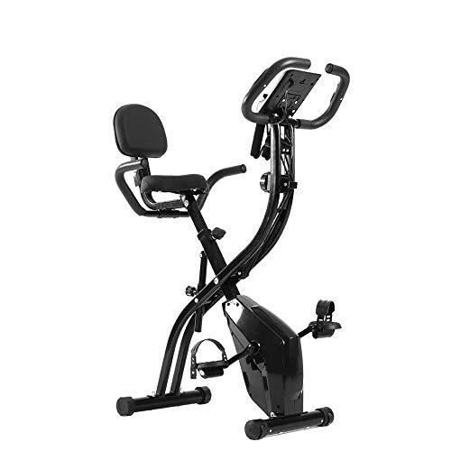 Yumhouse Bicicleta estática Plegable, Bicicleta estática Interior silenciosa con Control magnético, Bicicleta estática, con Pantalla LCD y Asiento cómodo, 8 Niveles de Resistencia