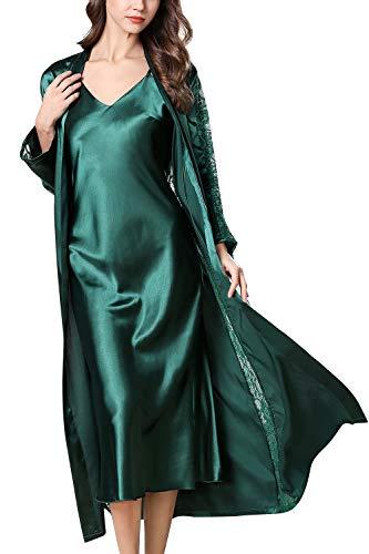 YAOMEI Chemises de Nuit Femmes Satin avec Kimono Robe, 2 Pcs Chemises de Nuit Femmes Ensemble de Pyjama, Dentelle Manches Longue Lingerie Peignoir Nuisette Pyjama (L, Vert)