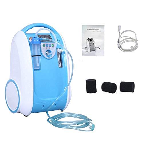 Generador de concentrador de oxígeno portátil de grado médico 1-5L/min 90% ± 3% máquina de alta concentración con función aniónica, bajo ruido y silencioso para uso en el hogar… (dorado)