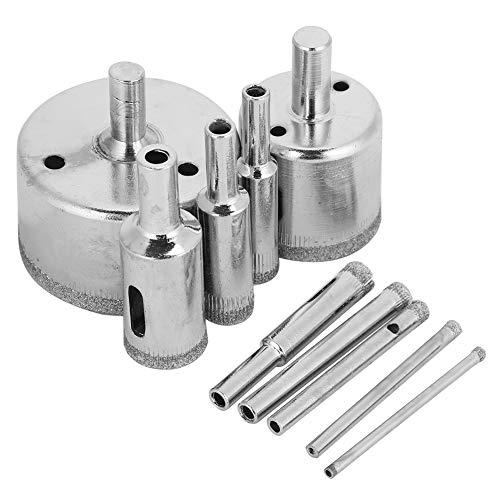 Sierras de agujero de diamante de 10 piezas, brocas de diamante de 3~50 mm Brocas de núcleo hueco Juego de herramientas de extracción de extractor para azulejos de granito de cerámica de vidrio Porc