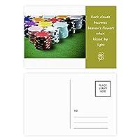 緑のテーブルのギャンブルチップの写真 詩のポストカードセットサンクスカード郵送側20個