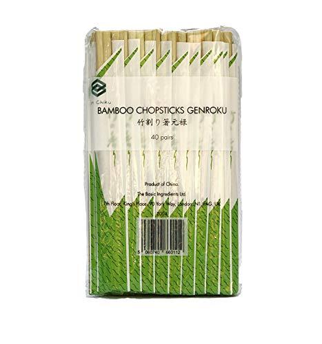 Ken Chiku Essstäbchen Bambus Essstäbchen Tensoge 20cm | 40 Einzeln Verpackte Paare | Chinesische & Japanische Küche | Natürlich, Splitterfrei | Umweltfreundlich | Erwachsene & Kinder