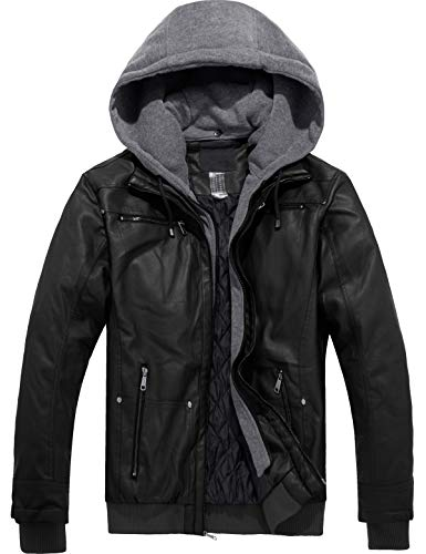 YXP Men's Faux Leather Motorcycle Jacket with Removable Hood (Black,Medium)