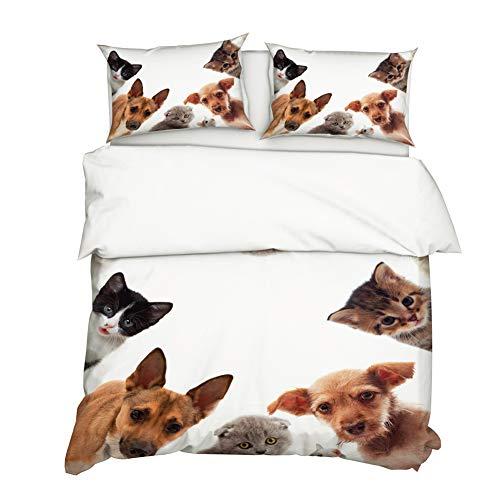 Timiany Katze Hunde Bettwäsche Aus Mikrofaser Mit Reißverschluss, Kinder Bettwäsche-Set Mit Katze and Hunde-Motiv 135x200 + 50 X 75cm (Haustier,155x220+80x80)