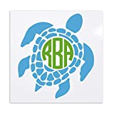 Sea Turtle with Circle Monogram Vinyl Decal for Car Windows, Laptops, Yeti Tumblers, Etc.