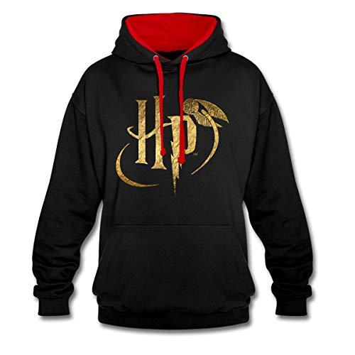 Harry Potter Logo Le Vif d'or Sweat À Capuche Contrasté Unisexe, XXL, Noir/Rouge