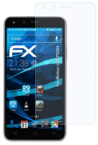 atFolix Schutzfolie kompatibel mit Medion Life P5004 Folie, ultraklare FX Bildschirmschutzfolie (3X)