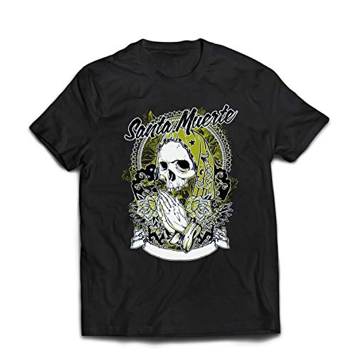 lepni.me Camisetas Hombre Nuestra Señora de la Santa Muerte - personificación Mexicana de la Muerte (XXX-Large Negro Multicolor)