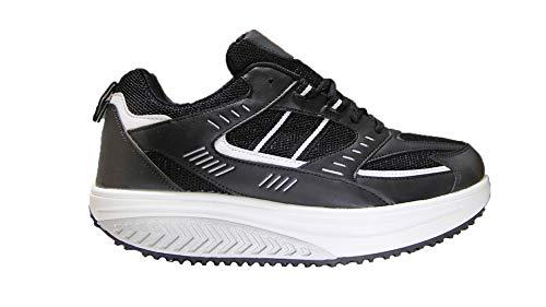 Mapleaf Scarpe Ginnastica Uomo Scarpe basculanti Donna Scarpe da Corsa Uomo Sportive Ginnastica Sneakers Scarpe comode per Camminare Scarpe Fitness Dimagranti comode Camminare Nero Taglia 43