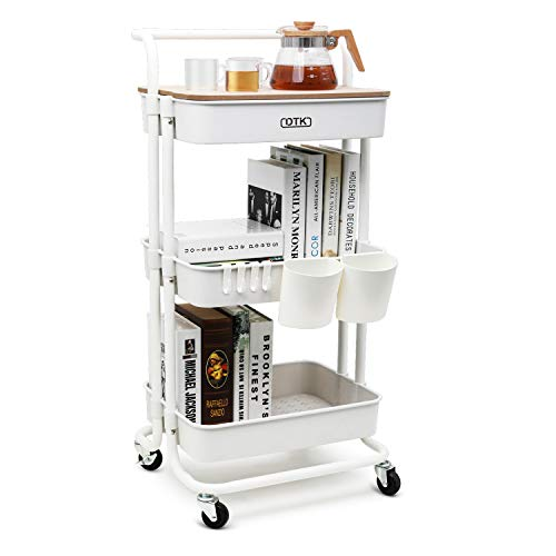 DTK 3 Tier Utility Rolling Cart with Cover Board Rolling Storage Cart with Handle and Locking Wheels Kitchen Cart with 2 Small Baskets and 4 Hooks for Bathroom Office Balcony Living RoomWhite