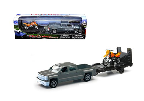 NewRay 1:32 Chevrolet Silverado 1500 Crew CAB with Trailer Dirt Bike 19535A
