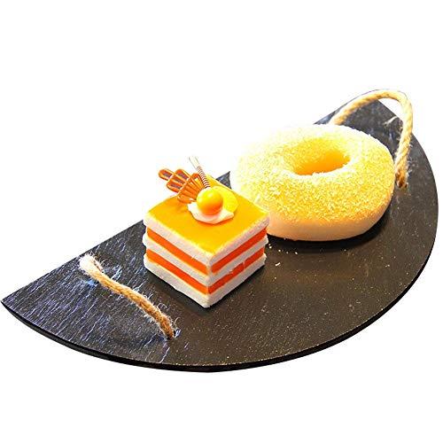 Knowled Plato de servir de pizarra natural, tabla de queso, plato gourmet para servir pasteles con asas, semicircular, juego de mesa para queso, tapas, entrantes y postres