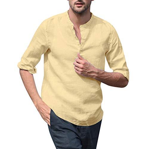DNOQN Coole Shirts Herren Langarmshirt Herren Baggy Baumwoll Mischung Volltonfarbe Langarm Stehkragen Shirts Bluse M