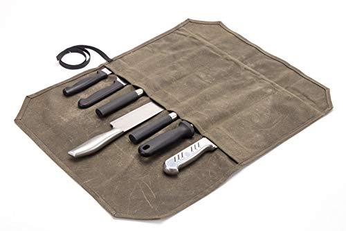 chengsan Bolsa de lona encerada resistente de 12 onzas, bolsa de almacenamiento para cuchillos de chef, portátil, 7 ranuras, gran capacidad, fácil de llevar, con correa de regalo, regalo super