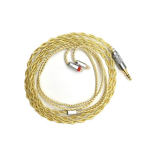 Linsoul 7N OCC versilbertes Kabel mit MMCX/0,78mm 2 Pin-Anschluss - 3,5mm/2,5mm Stecker für z.B Shure SE215, LZ, Shozy Hibiki, oder Kinera H3 (0.78mm 2 Pin, 3.5mm Stecker)