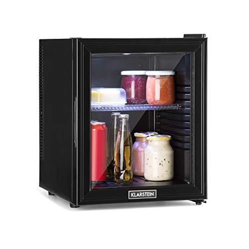 Klarstein Brooklyn 32L koelkast met glazen deur - minikoelkast, mini-bar, 32 L, 0 dB, 12-15 ° C, kunststof inzet, LED-binnenverlichting, glazen deur, voor enkele en kleine huishoudens, zwart
