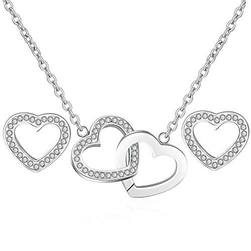 Gkmamrg Damesketting met hartvormige hanger, set van zilver, verguld roestvrij staal, 18 karaat harthanger met zirkonia, verstelbare ketting 50 cm