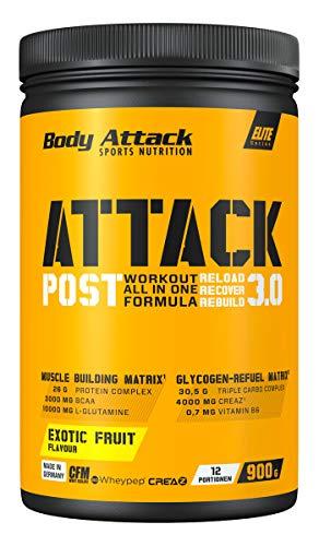 Body Attack POST ATTACK 3.0, Post-Workout-Shake mit Maltodextrin, Creatin, Whey Protein Isolate und Glutamin, 900g, Exotic Fruit