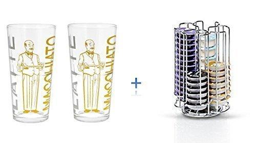 Bosch Tassimo Kapselhalter für 52 Stück T-Discs - 574959 - Kapselspender Kapselständer + 2 Latte Gläser
