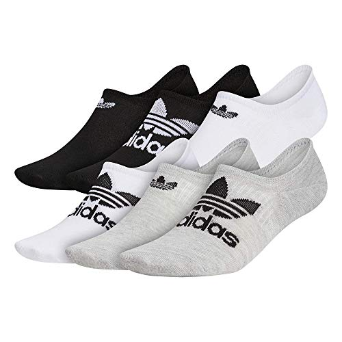 adidas Originals mens Classic Trefoil Superlite Super No Show Socks (6-Pair) , Heather Grey/White/Black, Large