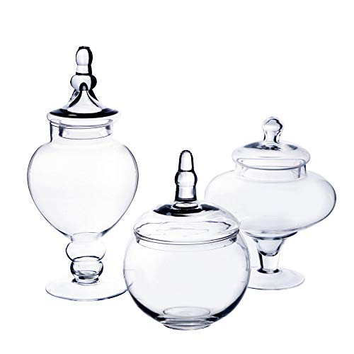 CYS EXCEL Classic Glass Apothecary Jars (Set of 3) | Decorative Candy Buffet Jar Sets | Elegant Glass Storage Containers