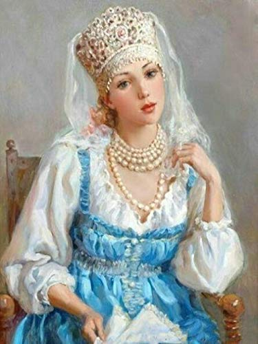 Diy 5D Mosaico De Diamantes Mujer Rusa Diamantes De Imitación Hechos A Mano Pintura De Diamantes Punto De Cruz Patrón De Bordado De Diamantes Redondos Completos