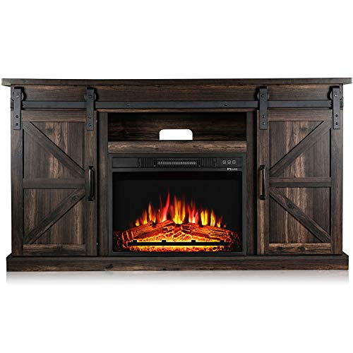 TURBRO Fireside FS58 TV Stand with Realistic Flames Fireplace, Supports TVs up to 65