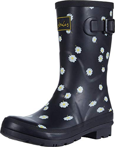 Joules Womens Molly Welly Rain Boot, Black Daisy, Size 5