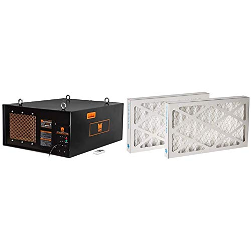 WEN 3417 3-Speed Remote-Controlled Industrial-Strength Air Filtration System (556/702/1044 CFM) & 90243-027-2 5-Micron Outer Air Filters, 2-Pack (for the WEN 3410 Air Filtration System)