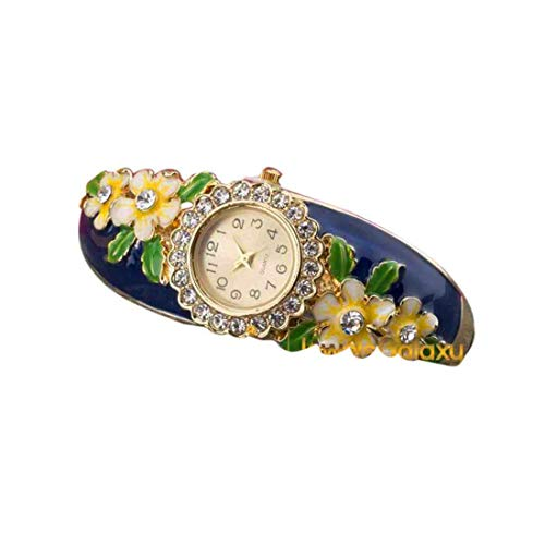 55Carat Designer Analogue Watch Blue Band, Round Dial Enamel Yellow Floral Design Watch Cuff&Kada Watch Bracelet for Women and Girls