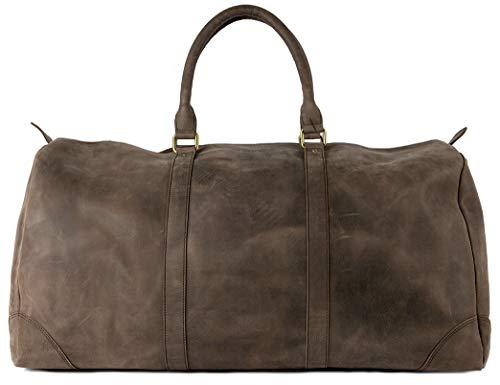 HOLZRICHTER Berlin No 8-2 (L) - Premium Weekender Reisetasche, Sporttasche & Handgepäck aus Leder - dunkel-braun
