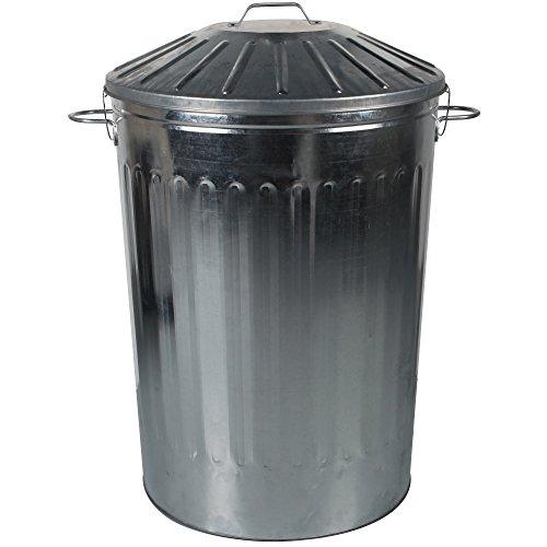 CrazyGadget® 125 Litre 125L Extra Large Metal Galvansied Dustbin Kitchen House Garden Storage Unit Bin with Special Locking Lid